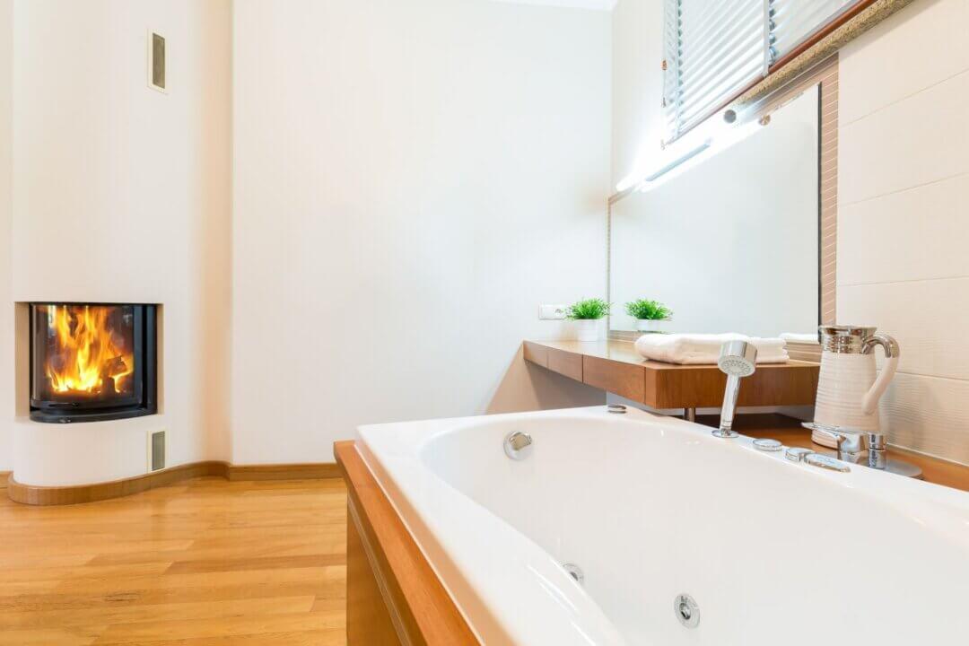 bathrom with fireplace